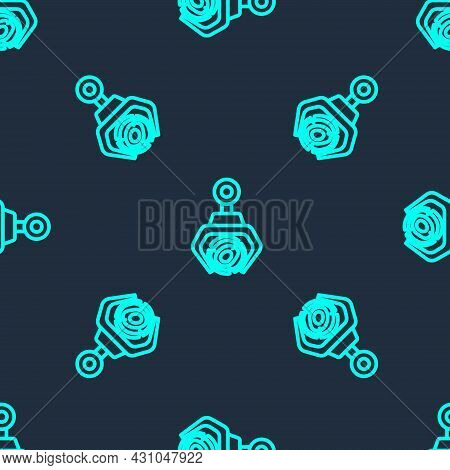 Green Line Grapple Crane Grabbed A Log Icon Isolated Seamless Pattern On Blue Background. Forest Ind