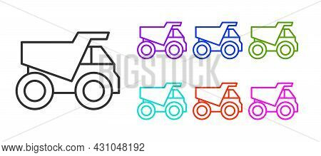 Black Line Mining Dump Truck Icon Isolated On White Background. Set Icons Colorful. Vector