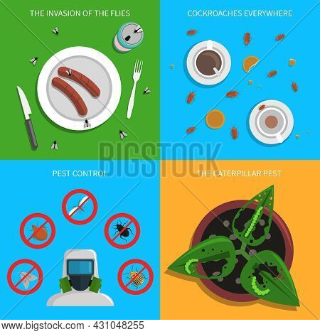 Pest Design Concept Set With Flies Cockroaches And Caterpillars Control Flat Icons Isolated Vector I