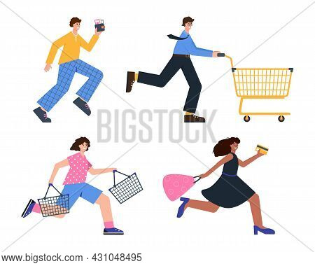 Happy People Run For Shopping, Sale And Discount. Set Of Shopaholics Or Buyers With Trolley, Basket,