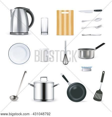 Realistic Kitchen Utensils Icons Set With Cup Plate Ladle And Teapot Isolated Vector Illustration