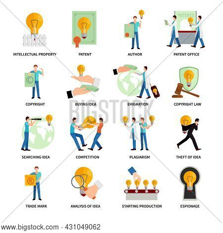 Intellectual Property Flat Icons   Set With Author Trademark Copyright Symbols Isolated Vector Illus