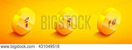 Set Isometric Action Camera, Softbox Light And Photo Icon. Vector