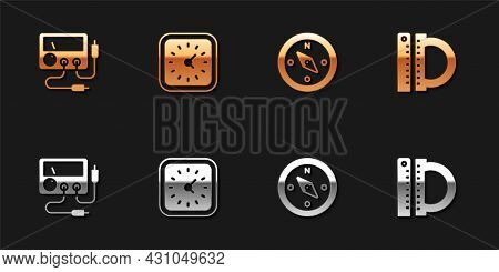 Set Multimeter, Voltmeter, Clock, Compass And Protractor And Ruler Icon. Vector