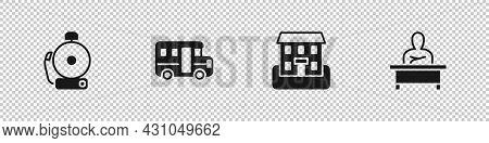 Set Ringing Alarm Bell, School Bus, Building And Schoolboy Sitting At Desk Icon. Vector