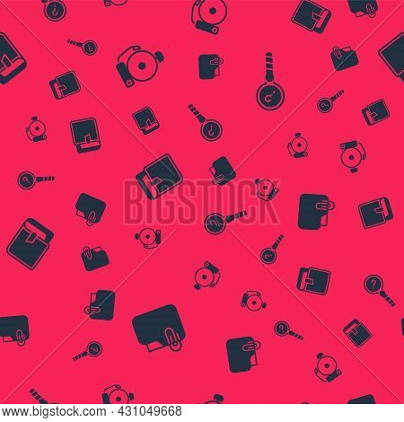 Set Document Folder With Clip, Ringing Alarm Bell, Book And Unknown Search On Seamless Pattern. Vect