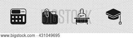 Set Calculator, Document Folder With Clip, Schoolboy Sitting Desk And Graduation Cap Icon. Vector