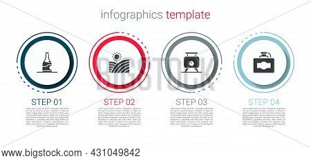 Set Bottle Of Wine, Vineyard Grapes, Fermentation And Cardboard Box. Business Infographic Template.