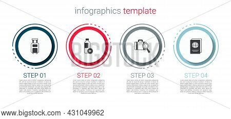 Set Suitcase, No Water Bottle, Lost Baggage And Passport. Business Infographic Template. Vector
