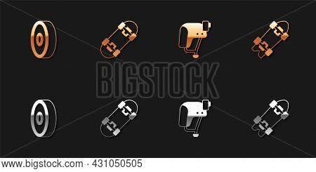 Set Skateboard Ball Bearing, , Helmet And Longboard Or Skateboard Icon. Vector