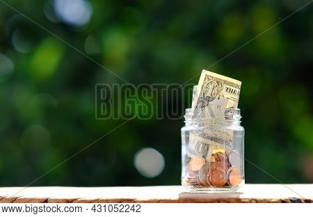 Coin On Table Background And Business Or Finance Saving Money, Advertising Coins Of Finance And Bank