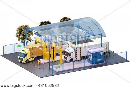 Trucks at the customs control. Border checkpoint with X-ray truck scanner. ?ontrol zone  includes customs officer booth, barriers, video surveillance. 3d illustration