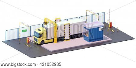 X-ray truck scanner. Customs control on border checkpoint. Booth, barriers, video surveillance, cargo scanning machine. 3d illustration