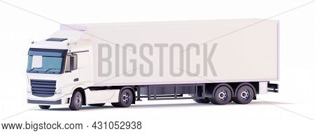White semi-trailer truck with box trailer. Cab-over tractor. European lorry. Orthographic Side view. 3d illustration
