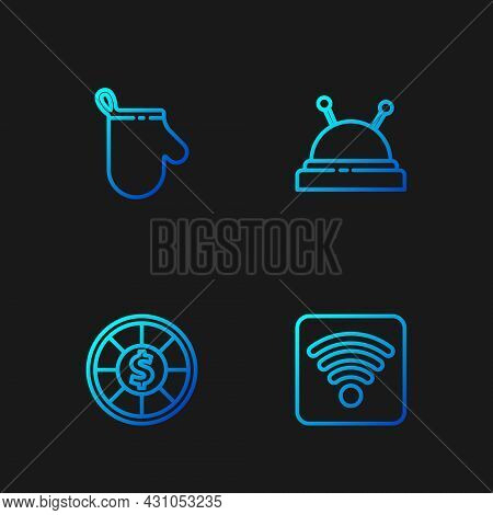 Set Line Wi-fi Wireless Internet Network, Casino Chips, Oven Glove And Needle Bed And Needles. Gradi