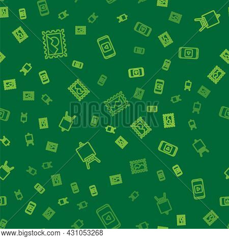 Set Line Postal Stamp, Easel Or Painting Art Boards And Online Play Video On Seamless Pattern. Vecto