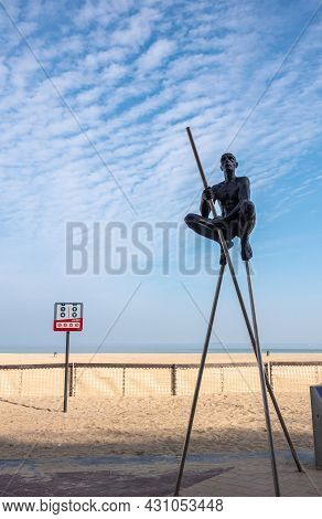 Knokke-heist, Flanders, Belgium - August 5, 2021: Statues By Nicolas Lavarenne On Boardwalk Along Be