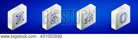 Set Isometric Line Decree, Parchment, Scroll, Joker Head, Wooden Four-wheel Cart And Diamond Icon. V
