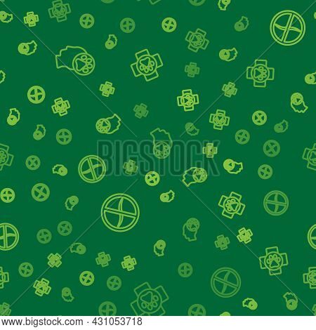 Set Line Human With Animals Footprint, Anti Worms Parasite And Veterinary Clinic On Seamless Pattern