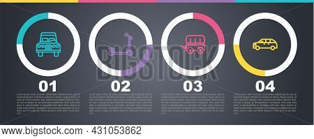 Set Line Car, Scooter, Wild West Covered Wagon And Hatchback Car. Business Infographic Template. Vec