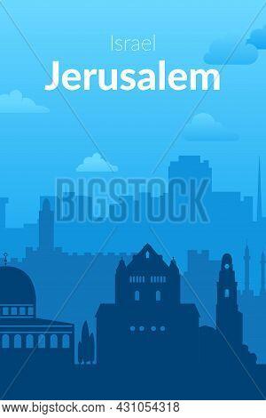 Jerusalem, Israel Famous City Scape View Background.