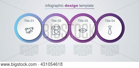Set Line Two Linked Hearts, Calendar, Smiling Lips And Tie. Business Infographic Template. Vector