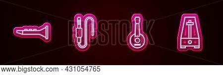 Set Line Clarinet, Audio Jack, Banjo And Metronome With Pendulum. Glowing Neon Icon. Vector