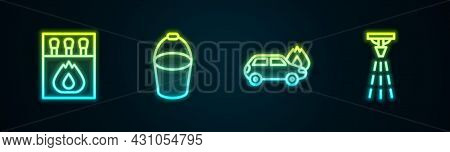 Set Line Matchbox And Matches, Fire Bucket, Burning Car And Sprinkler. Glowing Neon Icon. Vector