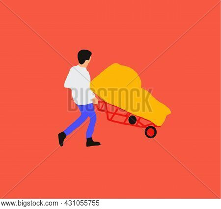 Couriers, Postman, Deliveryman Man Rolling Cardboard Box Cargo Trolley Pushcart Courier Carrying Par