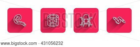 Set Line Octopus Of Tentacle, Canned Fish, And Eel With Long Shadow. Red Square Button. Vector