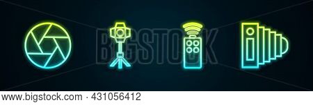 Set Line Camera Shutter, Softbox Light, Remote Control For Camera And Photo. Glowing Neon Icon. Vect