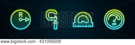Set Line Radius, Micrometer, Protractor And Speedometer. Glowing Neon Icon. Vector