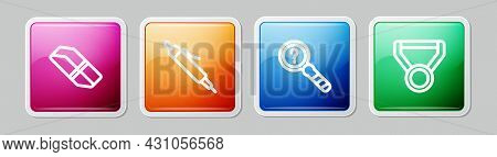 Set Line Eraser Or Rubber, Pen, Unknown Search And Medal. Colorful Square Button. Vector