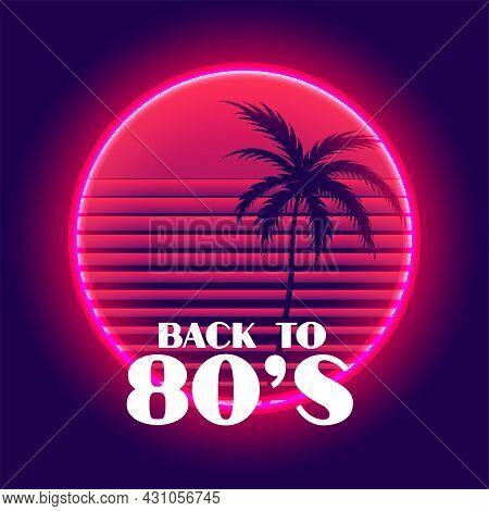 Back To 80s Retro Neon Paradise Background Design Vector Illustration