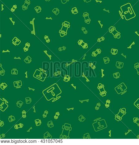 Set Line Skateboard, T Tool And On Seamless Pattern. Vector