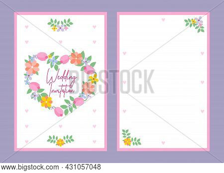 Summer Wedding Invitation Card With Hearts, Leaves, Tulips And Other Flowers. The Concept Of A Weddi