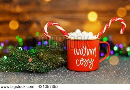 Cup Of Hot Chocolate With Marshmallows On A Bokeh Background. Hot Cocoa With Sweet Marshmallow. Home