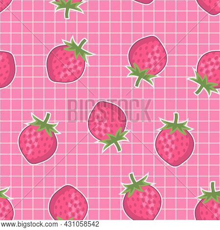 Cute Pink Strawberry With Grid Lines Seamless Pattern Aesthetic Design