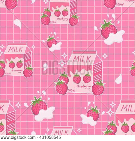Strawberry Flavored Milk Drink Cute Aesthetic Style With Grid Lines Seamless Vector Pattern Design