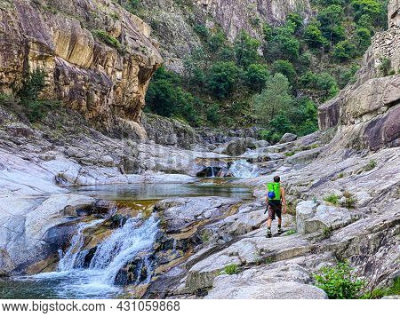 Unrecognizable People walking to go  canyoning in Chassezac gorges