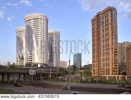 Novosibirsk, Siberia, Russia - 08.05.2019: New High-rise Buildings In Novosibirsk. Houses Of Modern