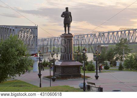 Novosibirsk, Siberia, Russia - 08.05.2019: Monument To Alexander Iii In Novosibirsk. Monument To The