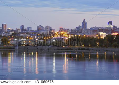 Novosibirsk, Siberia, Russia - 09.05.2019: The Center Of Novosibirsk Is The Capital Of Siberia. The