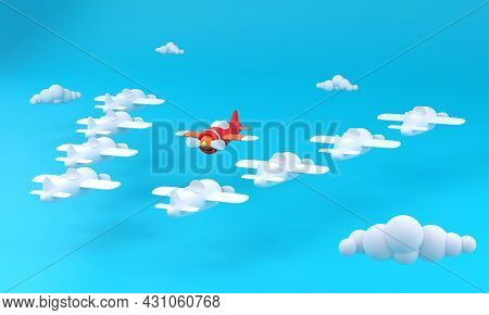 3d. Group Of White Airplane In One Direction And One Red Airplane Pointing In Different Way On Blue