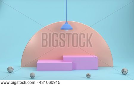 3d Pink Square Podium For Business Product Display Orange Half-circle Background And Wall Lamps In T