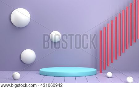 3d Render. Studio With Circular Podium Wall Balls And The Red Pillars Are A Modern Scene. Scene Stag