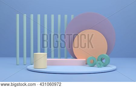 3d. Circle Podium Scene With A Circular Pedestal As A Background And Round Pillars At The Scene For
