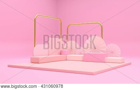 3d. The Scene And The Pink Podium And The Golden Pillars Look Outstanding And Luxurious, Promoting V