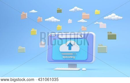 3d. System Computer Screen Uploading Files With The System Wi-fi Network Speed There Was A Folder Of