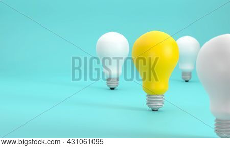 3d. The Yellow Light Bulb Outstanding From The White Light Bulb. Demonstrates Creativity, Thinking,